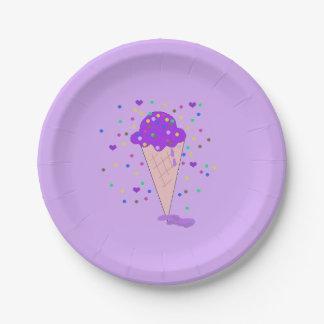 Plato De Papel Cono de helado púrpura del confeti
