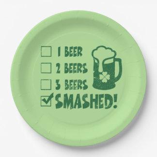 Plato De Papel Consumición divertida de la cerveza del día de St