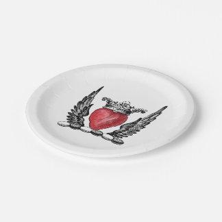 Plato De Papel Corazón heráldico con el escudo del escudo de
