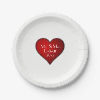 Plato De Papel Corazón rojo romántico con la fecha del nombre y