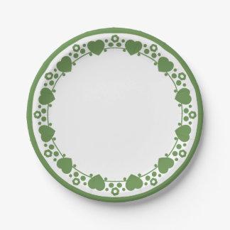 Plato De Papel Corazones florales verdes y amor blanco del punto