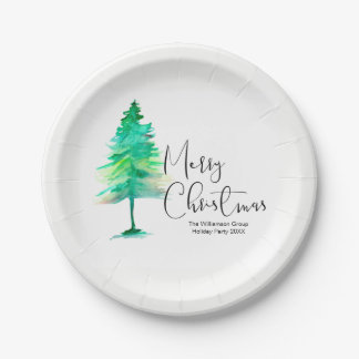 Plato De Papel Corporativo, fiesta de Navidad, Acuarela-Pinetree