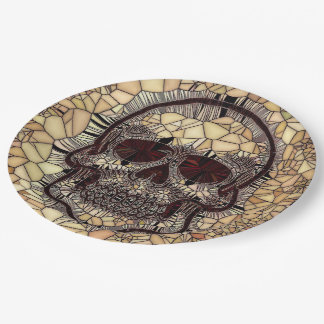 Plato De Papel Cráneo de cristal del mosaico, beige