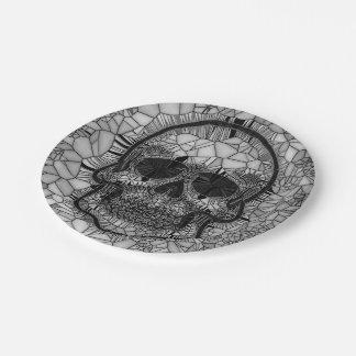 Plato De Papel Cráneo de cristal del mosaico, blanco negro