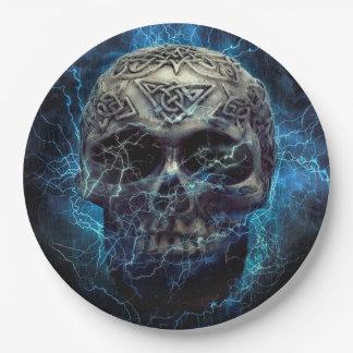 Plato De Papel Cráneo espeluznante