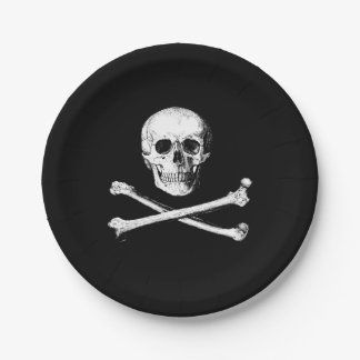 Plato De Papel Cráneo y placas de papel de la bandera pirata