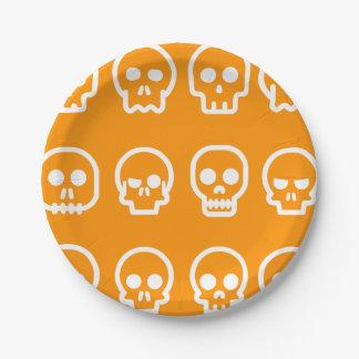 Plato De Papel Cráneos divertidos de Halloween
