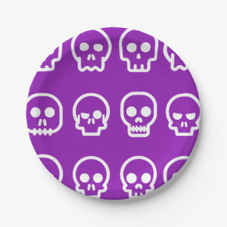 Plato De Papel Cráneos divertidos de Halloween púrpuras