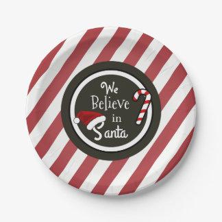 """Plato De Papel """"Creemos en navidad de Santa"""""""