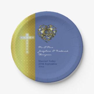 Plato De Papel Cruz del boda del azul y del oro