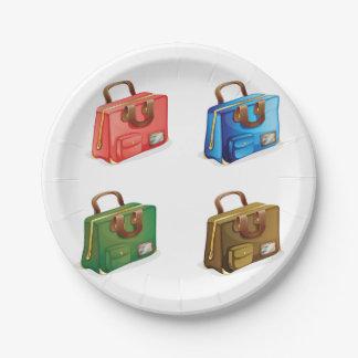 Plato De Papel Cuatro placas de papel de las maletas
