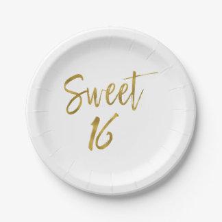 Plato De Papel Cumpleaños de la hoja de oro del dulce 16