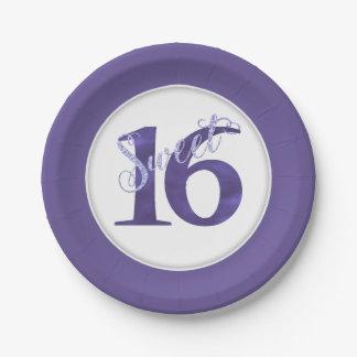Plato De Papel Cumpleaños de la violeta de la acuarela de la