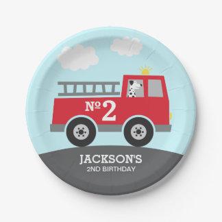 Plato De Papel Cumpleaños del coche de bomberos