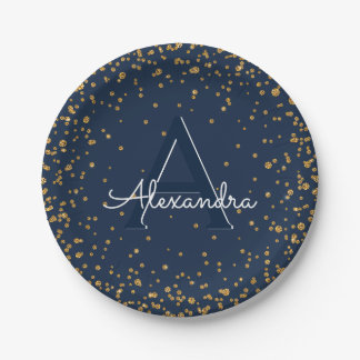 Plato De Papel Cumpleaños del monograma del confeti de los azules