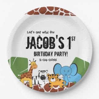Plato De Papel Cumpleaños personalizado, 1r, tema del safari