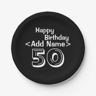 """Plato De Papel Cumpleaños personalizado 7"""" del negro 50.o placas"""