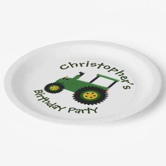 Plato De Papel Cumpleaños verde personalizado del tractor