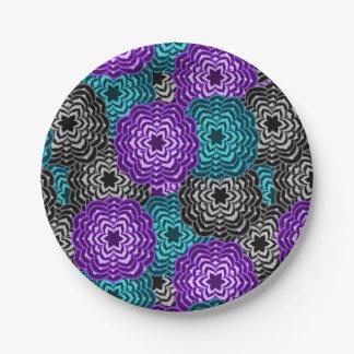 Plato De Papel Dalia gris púrpura de la lavanda azul del trullo