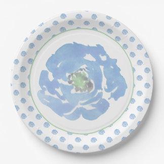 Plato De Papel Decorativo floral de la acuarela azul