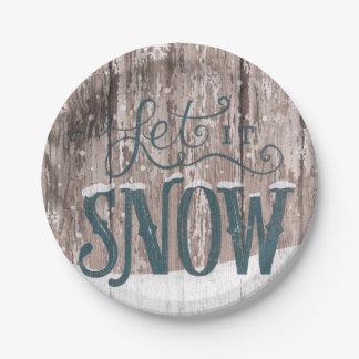 Plato De Papel Dejáis le nevar placa de papel del invierno del