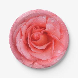 Plato De Papel Descensos rosados rojos románticos del agua color