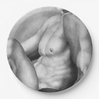 Plato De Papel Desnudo-Varón de la bella arte de las placas de