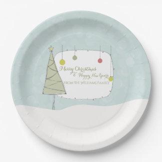 Plato De Papel Día de fiesta del ornamento del navidad