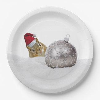 Plato De Papel Día de fiesta lindo del navidad de la plata y de