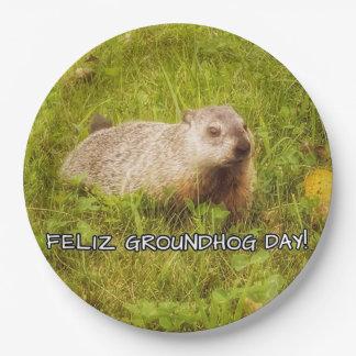 Plato De Papel ¡Día de la marmota de Feliz! placas de papel