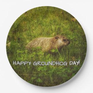 Plato De Papel ¡Día de la marmota feliz! placas de papel