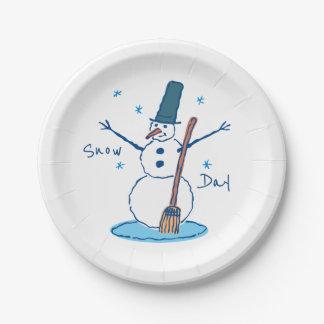 Plato De Papel Día de la nieve del muñeco de nieve