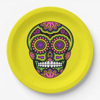 Plato De Papel Día mexicano colorido del cráneo del azúcar de los