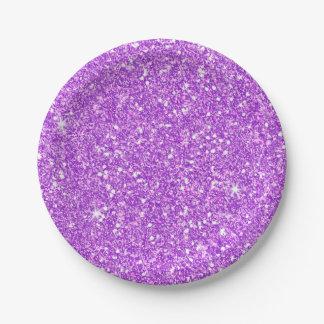 Plato De Papel Diamante púrpura del lujo del brillo