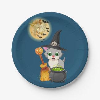 Plato De Papel Dibujo animado gris de Halloween del gatito