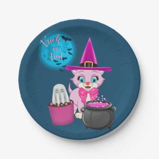 Plato De Papel Dibujo animado rosado de Halloween del gatito
