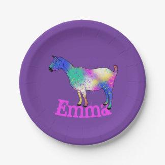 Plato De Papel Diseño azul de la cabra del arte abstracto con su