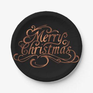 Plato De Papel diseño de la escritura de las Felices Navidad de