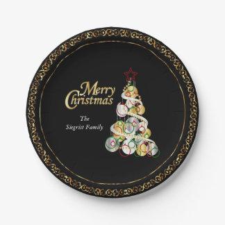 Plato De Papel Diseño elegante del árbol de navidad