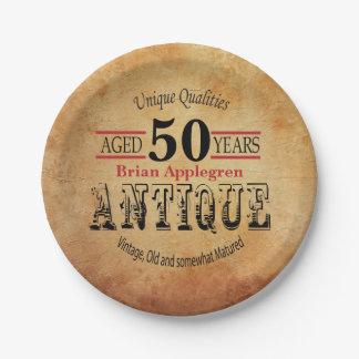 Plato De Papel Diseño envejecido, antiguo y 50.o del cumpleaños