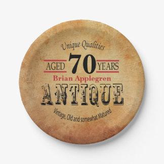Plato De Papel Diseño envejecido, antiguo y 70.o del cumpleaños