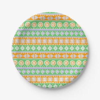 Plato De Papel Diseño étnico verde anaranjado lindo de los