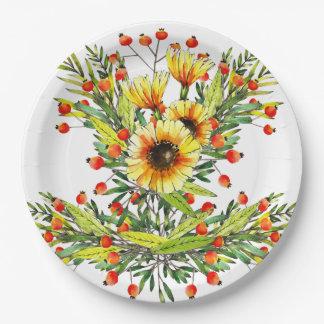 Plato De Papel Diseño floral de la acuarela de los girasoles y de