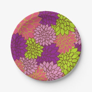 Plato De Papel Diseño floral intrépido en la verde lima, rosa,