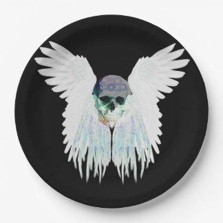 Plato De Papel Diseño gótico con alas del cráneo perfecto para