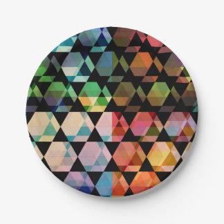 Plato De Papel Diseño gráfico del hexágono abstracto
