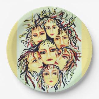 Plato De Papel Diseño pintado alegría de los chicas