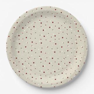 Plato De Papel Diseño punteado rojo beige del navidad Nevado
