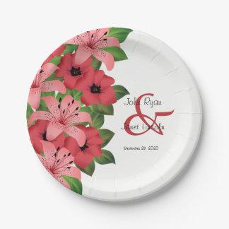 Plato De Papel Diseño rosado del boda de la flor del arándano