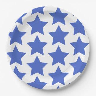 Plato De Papel Diversión, modelo de estrellas grande de azules